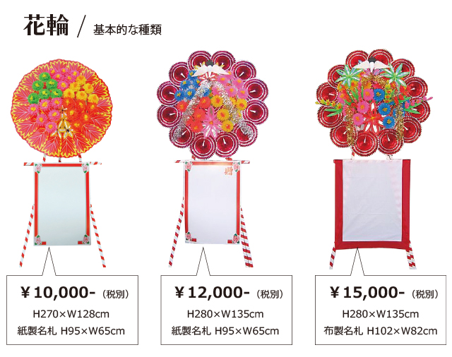 花輪・基本的な3種類
